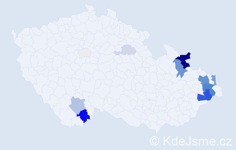 Příjmení: 'Janešík', počet výskytů 40 v celé ČR
