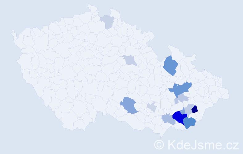 Příjmení: 'Bednářík', počet výskytů 31 v celé ČR