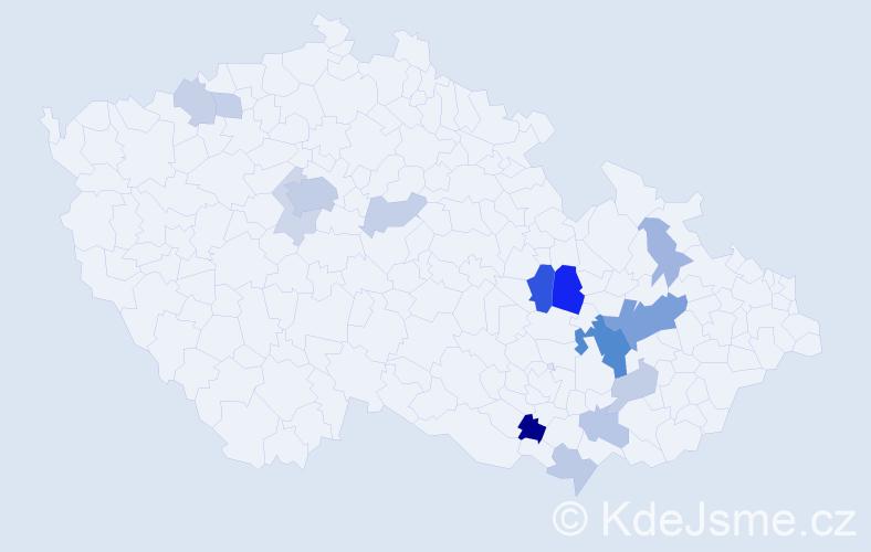 Příjmení: 'Čehovský', počet výskytů 37 v celé ČR