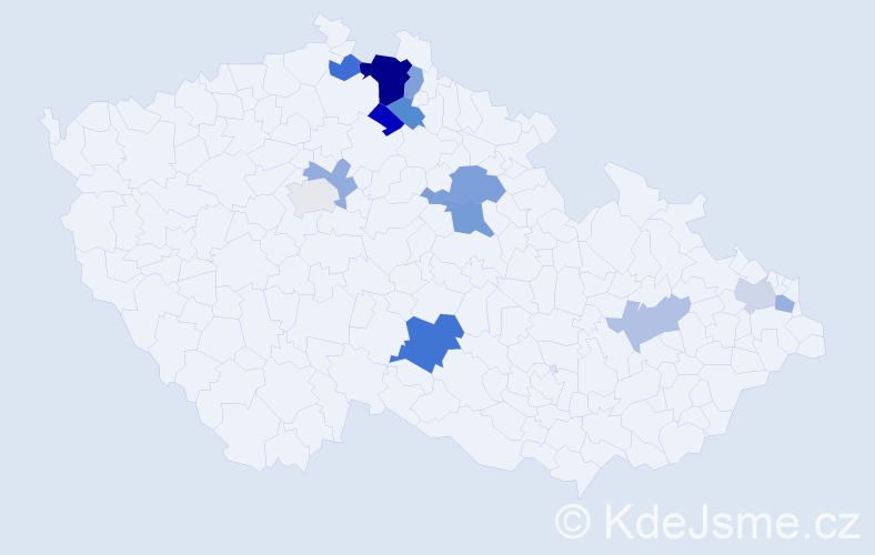 Příjmení: 'Cop', počet výskytů 23 v celé ČR