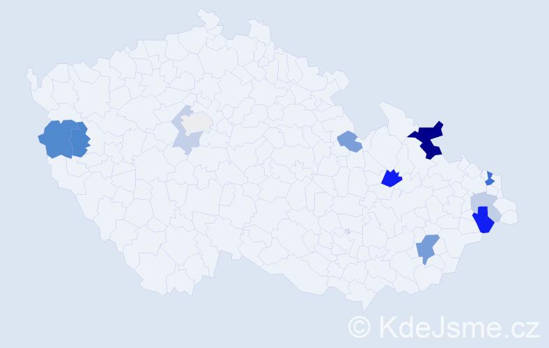 Příjmení: 'Genčúr', počet výskytů 22 v celé ČR