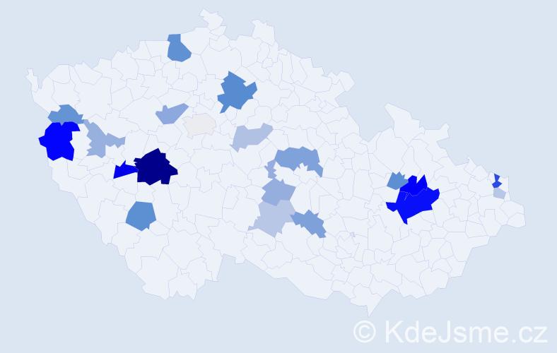 Příjmení: 'Jakubčová', počet výskytů 48 v celé ČR