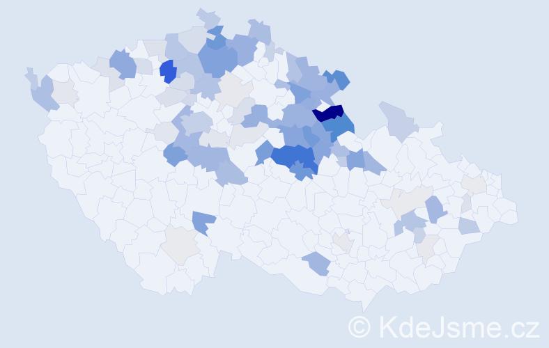 Příjmení: 'Dušánková', počet výskytů 283 v celé ČR