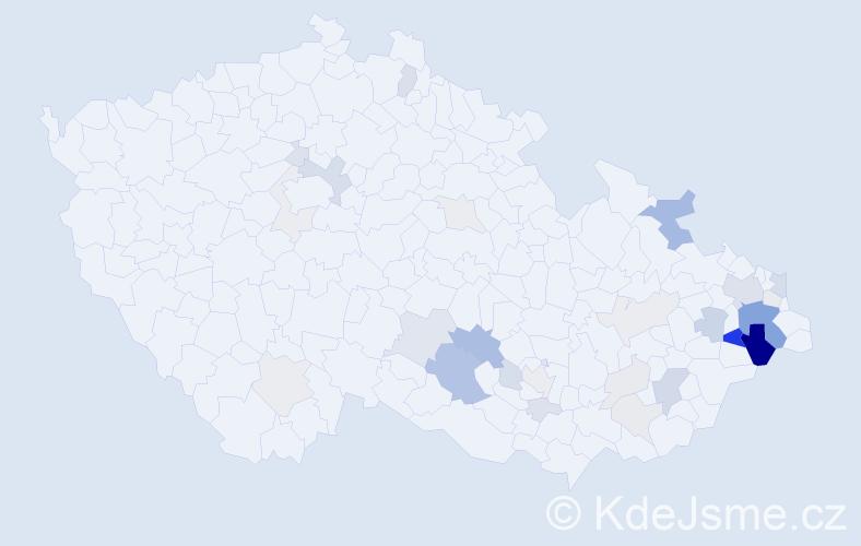 Příjmení: 'Čajánková', počet výskytů 97 v celé ČR