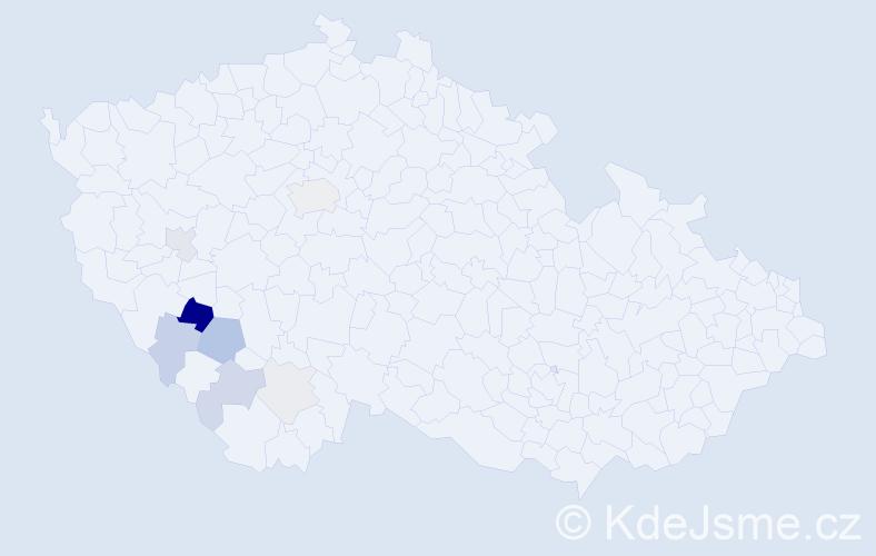 Příjmení: 'Hodánek', počet výskytů 28 v celé ČR
