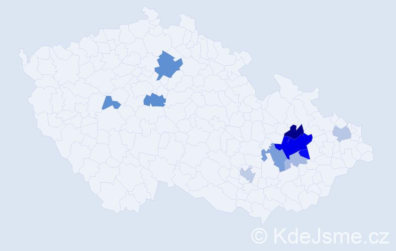 Příjmení: 'Láhner', počet výskytů 24 v celé ČR