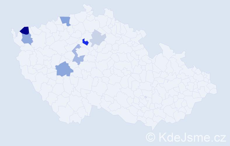 Příjmení: 'Jarosil', počet výskytů 15 v celé ČR