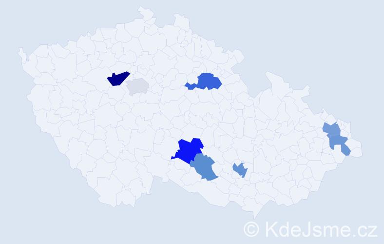 Příjmení: 'Dibdiak', počet výskytů 15 v celé ČR