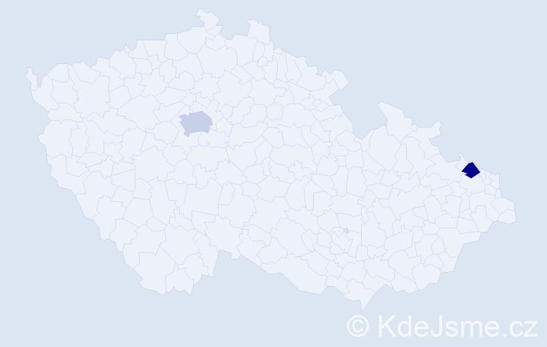 Příjmení: 'Kegel', počet výskytů 5 v celé ČR
