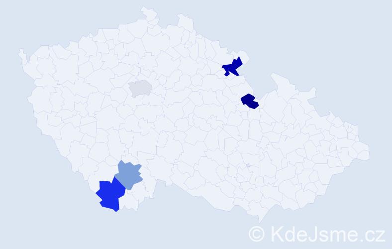 Příjmení: 'Jegorová', počet výskytů 6 v celé ČR