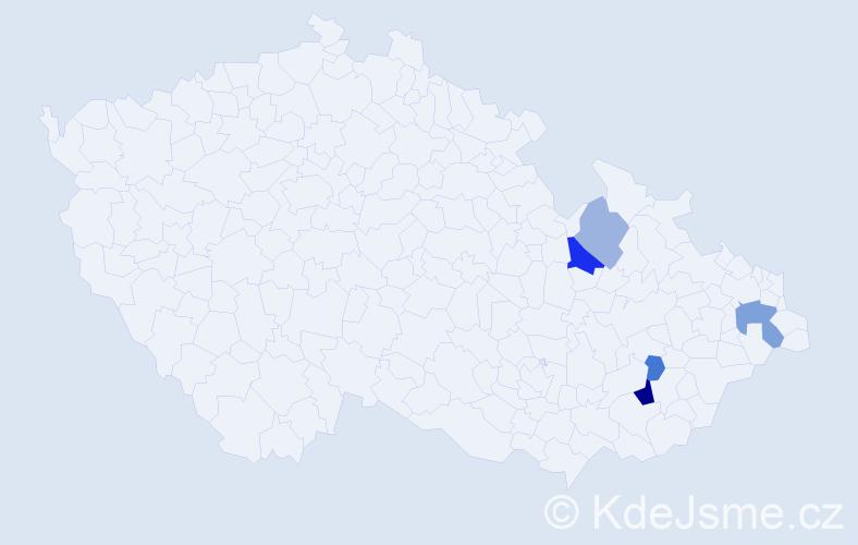 Příjmení: 'Halcinová', počet výskytů 9 v celé ČR