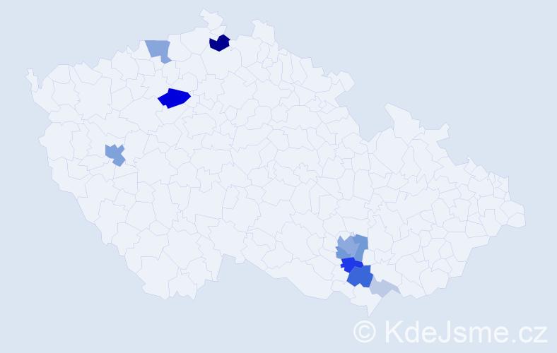 Příjmení: 'Hajman', počet výskytů 34 v celé ČR
