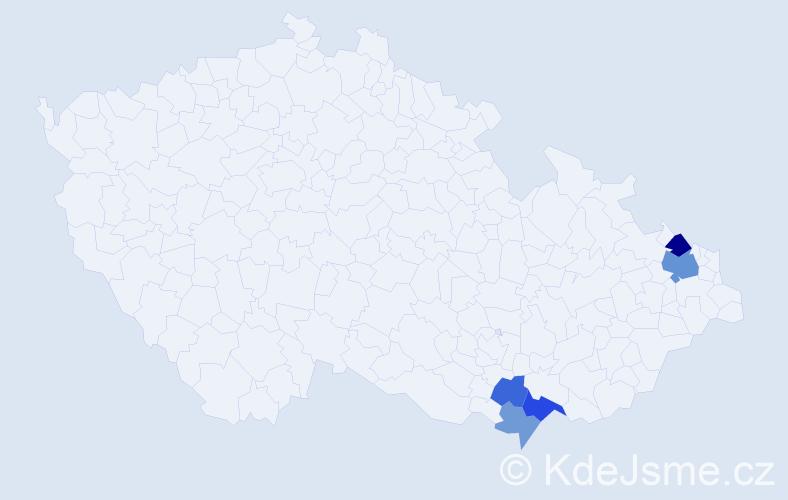 Příjmení: 'Křížák', počet výskytů 10 v celé ČR