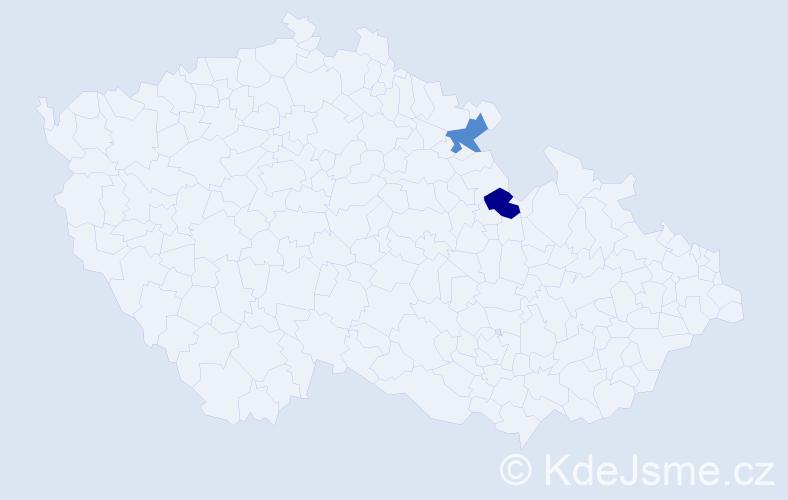 Příjmení: 'Kalcasová', počet výskytů 2 v celé ČR