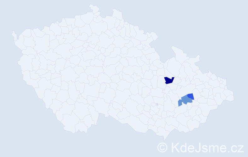Příjmení: 'Chantúr', počet výskytů 6 v celé ČR