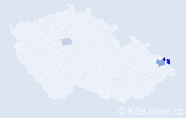 Příjmení: 'Frajkovský', počet výskytů 13 v celé ČR