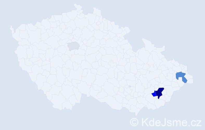 Příjmení: 'Hamrlíček', počet výskytů 13 v celé ČR