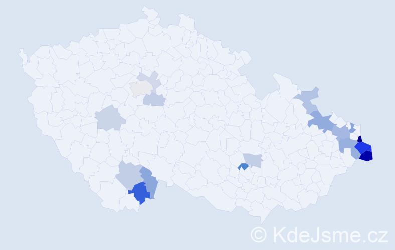 Příjmení: 'Čudek', počet výskytů 44 v celé ČR