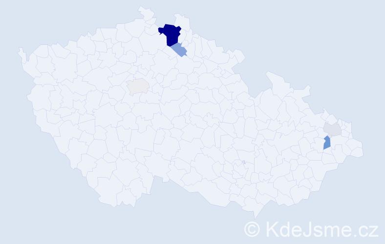 Příjmení: 'Honsejková', počet výskytů 19 v celé ČR