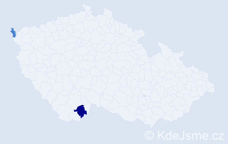 Příjmení: 'Holej', počet výskytů 3 v celé ČR