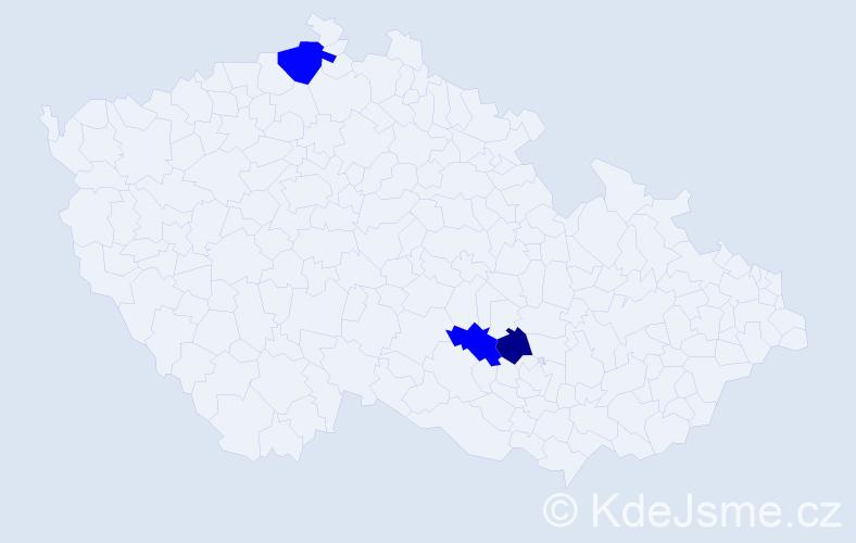 Příjmení: 'Csikkelová', počet výskytů 4 v celé ČR