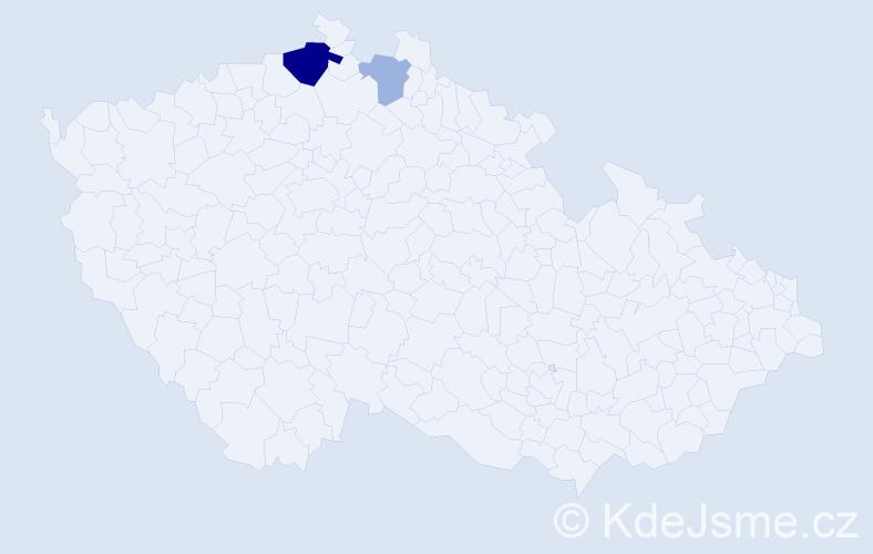 Příjmení: 'Csollák', počet výskytů 5 v celé ČR