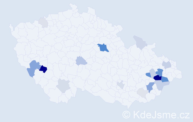 Příjmení: 'Čáň', počet výskytů 75 v celé ČR