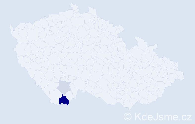 Příjmení: 'Bóga', počet výskytů 4 v celé ČR