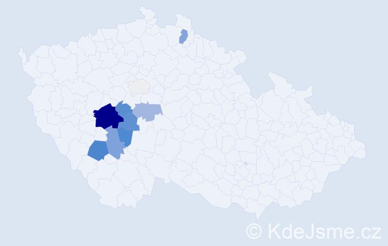 Příjmení: 'Čejdíková', počet výskytů 35 v celé ČR