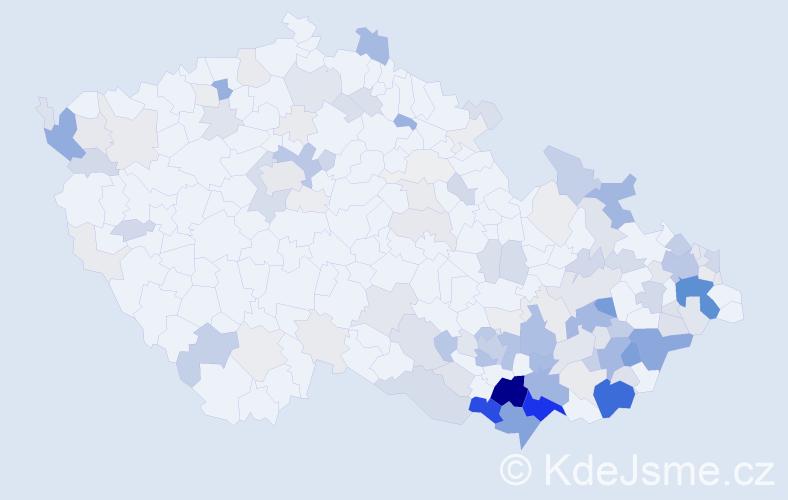 Příjmení: 'Bařina', počet výskytů 566 v celé ČR