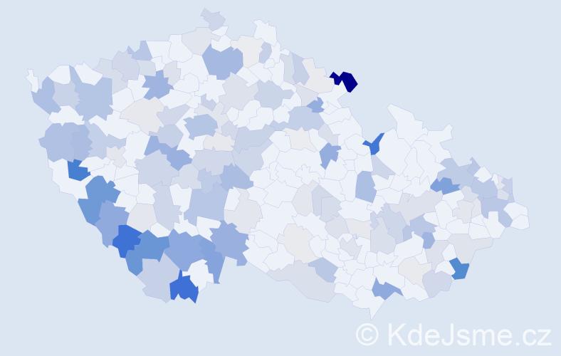 Příjmení: 'Koller', počet výskytů 446 v celé ČR