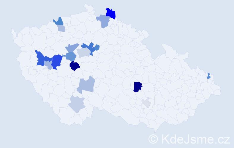 Příjmení: 'Jagerová', počet výskytů 38 v celé ČR
