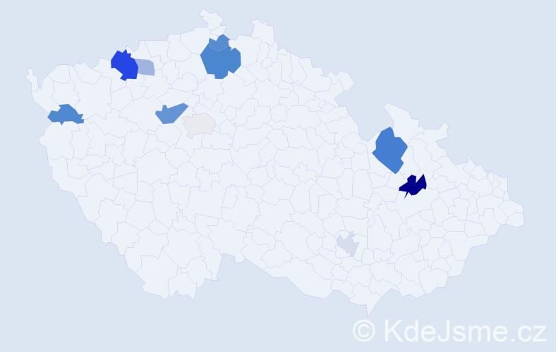 Příjmení: 'Gedeon', počet výskytů 20 v celé ČR