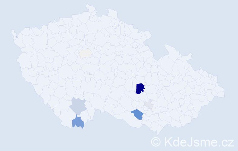 Příjmení: 'Exl', počet výskytů 18 v celé ČR