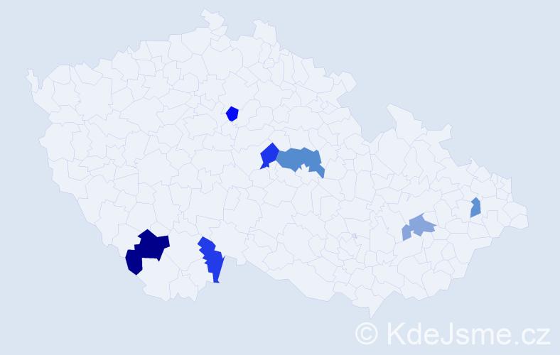 Příjmení: 'Jehlárová', počet výskytů 9 v celé ČR