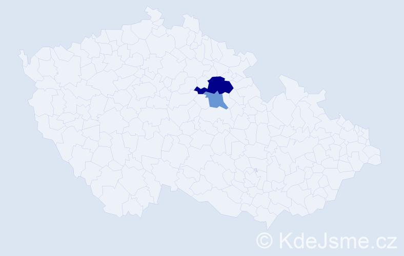 Příjmení: 'Kolerová', počet výskytů 4 v celé ČR
