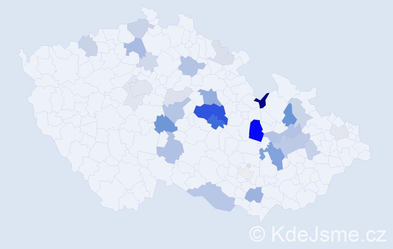 Příjmení: 'Kudyn', počet výskytů 87 v celé ČR