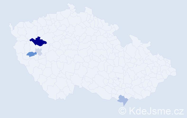 Příjmení: 'Ajdari', počet výskytů 11 v celé ČR