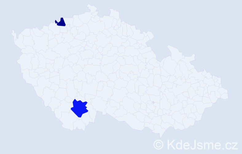 Příjmení: 'Harahusová', počet výskytů 3 v celé ČR