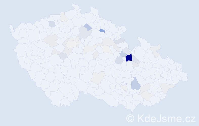 Příjmení: 'Hajzler', počet výskytů 135 v celé ČR