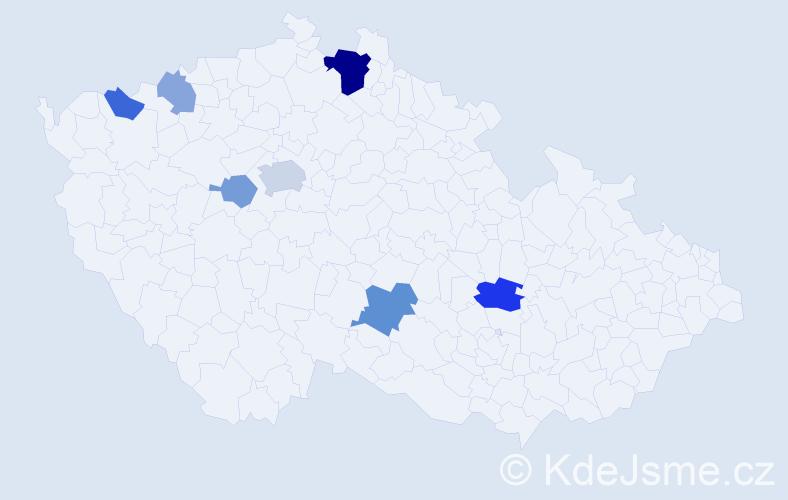 Příjmení: 'Lauermanová', počet výskytů 16 v celé ČR