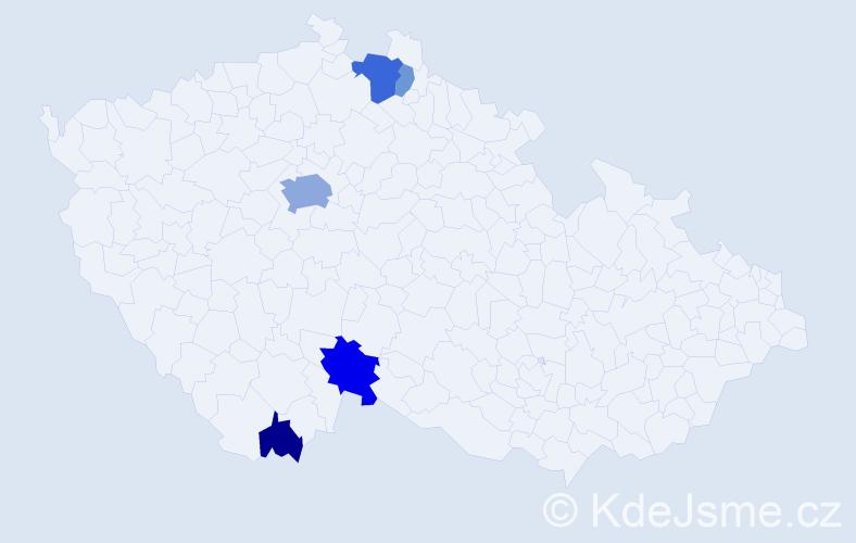 Příjmení: 'Johová', počet výskytů 14 v celé ČR