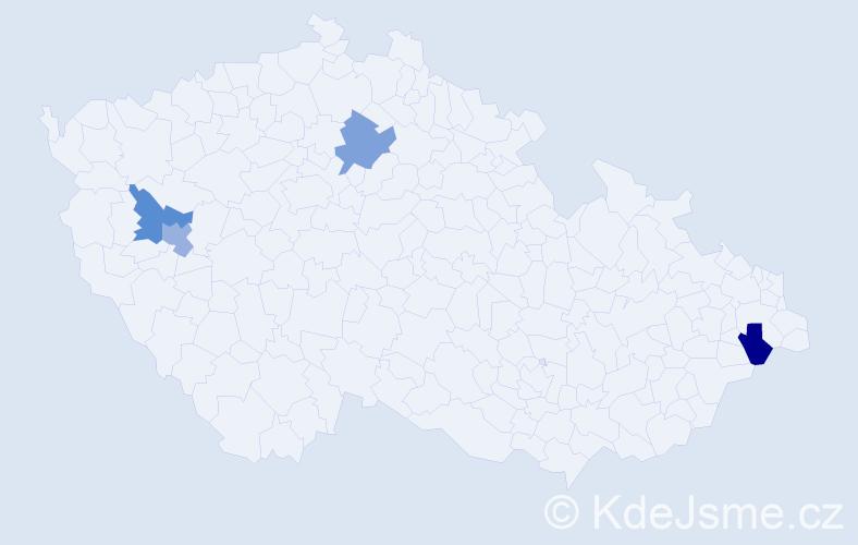 Příjmení: 'Árpa', počet výskytů 4 v celé ČR