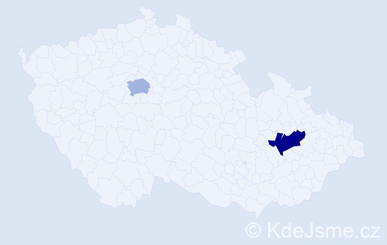 Příjmení: 'Hycová', počet výskytů 2 v celé ČR