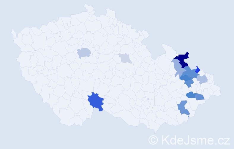 Příjmení: 'Kocvelda', počet výskytů 45 v celé ČR