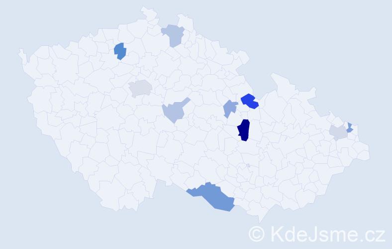 Příjmení: 'Laky', počet výskytů 27 v celé ČR