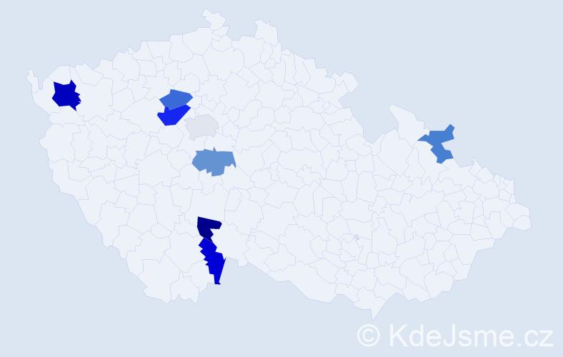 Příjmení: 'Egerer', počet výskytů 12 v celé ČR
