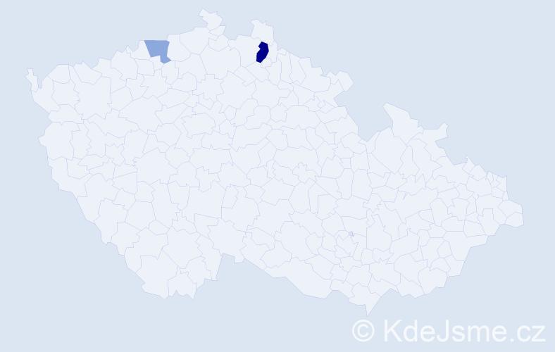 Příjmení: 'Kraglová', počet výskytů 4 v celé ČR