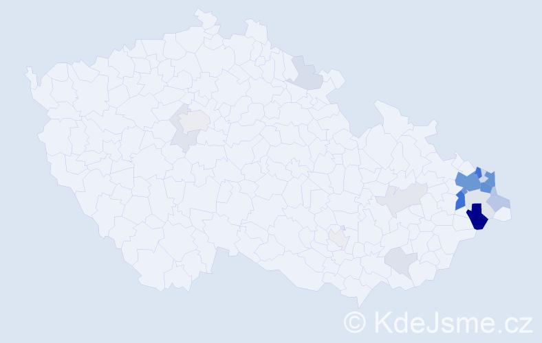 Příjmení: 'Břusková', počet výskytů 72 v celé ČR