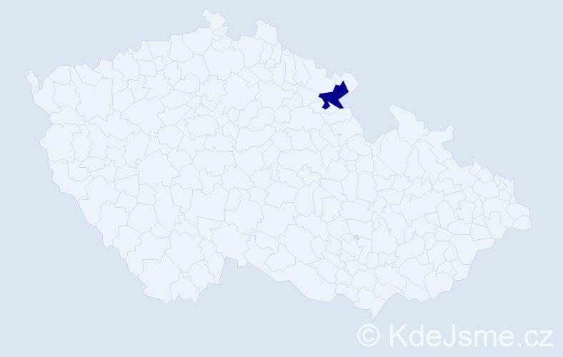"""Příjmení: '""""Čudová Vančáková""""', počet výskytů 1 v celé ČR"""